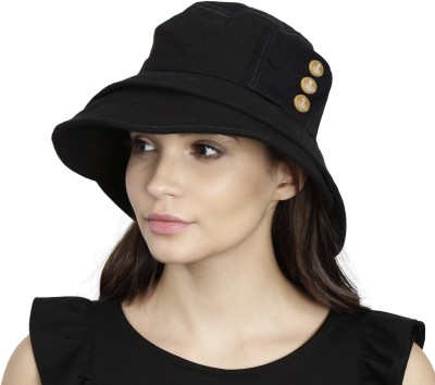 FabSeasons Foldable Cotton Fashion Beach Cloche / Caps / Hats for Girls & Women(Black, Pack of 1)