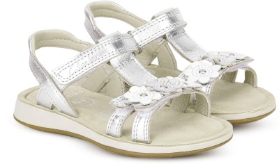 Clarks Girls Velcro Strappy Sandals(Silver)