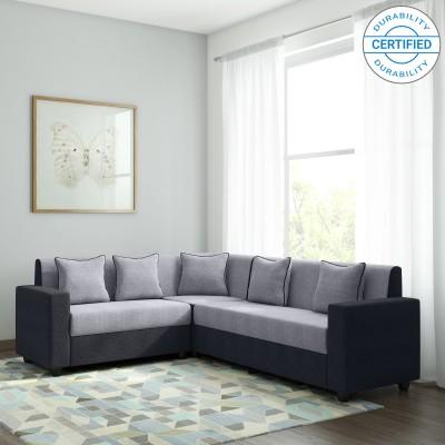 Stupendous Bharat Lifestyle Cosmo Plus Fabric 6 Seater Sofa Finish Color Black Grey Machost Co Dining Chair Design Ideas Machostcouk