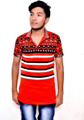 JG FORCEMAN Printed Men Polo Neck Multicolor T-Shirt