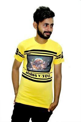 JG FORCEMAN Printed Men Round Neck Yellow, Black T-Shirt