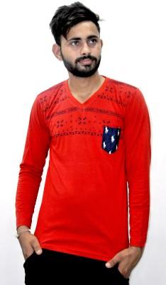 Puma Printed Men V-neck White, Red T-Shirt