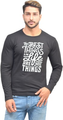 Oh Yes Printed Men's Round Neck Black T-Shirt
