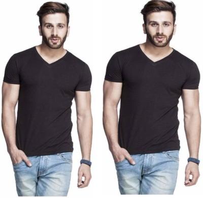 izzard Solid Men's V-neck Black T-Shirt(Pack of 2)