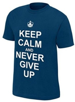 vency creation Printed Men Round Neck Light Blue T-Shirt
