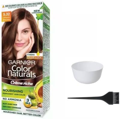 Garnier Color Naturals Hair Color (Caramel Brown No. 5.32) + 1 Mixing Bowl + 1 Dyeing Brush(Set of 3)