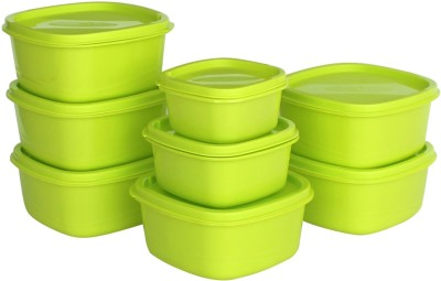 Princeware  - 4450 ml Plastic Grocery Container(Pack of 8, Green)