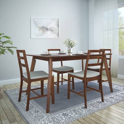 HomeTown Solid Wood 4 Seater Dining Set  (Finish Color - Light Walnut)