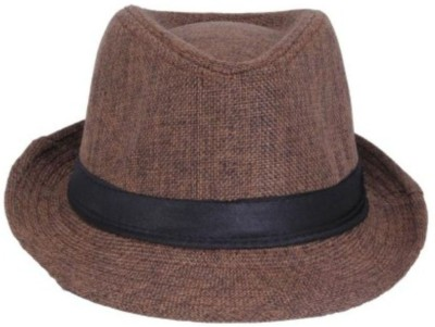 Goldstar Brown Fedora Hat(Brown, Pack of 1)