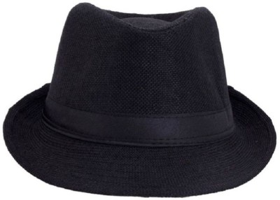 Goldstar Black Fedora Hat(Black, Pack of 1)