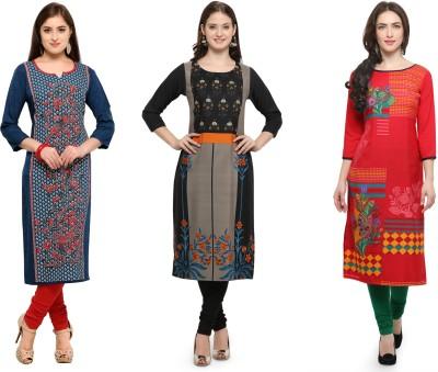 Envy 9 Casual Printed Women Kurti(Pack of 3, Multicolor)