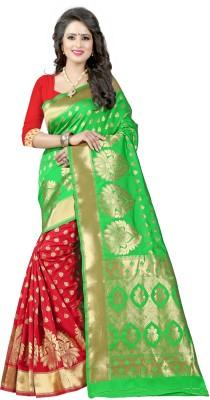 Pehnava Floral Print Banarasi Polycotton, Jacquard Saree(Green, Red, Beige)