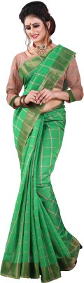 Sunderani Checkered Banarasi Polycotton, Jacquard Saree(Green, Beige)