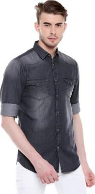 Dennis Lingo Men Solid Casual Grey Shirt