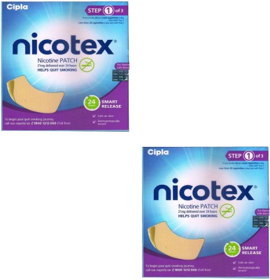 Nicotex Nicotine Patch 21mg (Step 1) (Pack of 2) 24 hour patch Smoking Patch(Pack of 14)