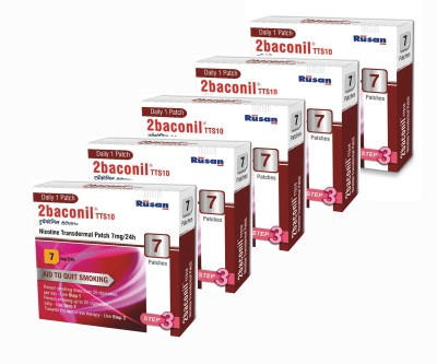 2baconil Nicotine 7 mg step 3 (35 pcs ) 24 hour patch Smoking Patch(Pack of 7)