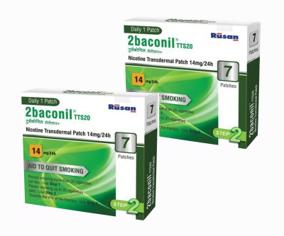 2baconil Nicotine 14 mg step 2 (14 pcs ) 24 hour patch Smoking Patch(Pack of 7)