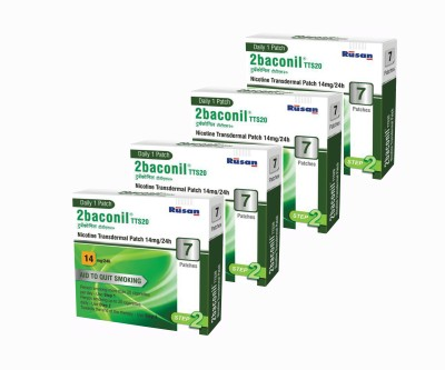 2baconil Nicotine 14 mg step 2 (28 pcs ) 24 hour patch Smoking Patch(Pack of 7)