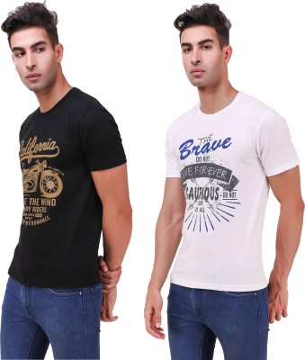 Remedy Printed Men Round Neck Multicolor T-Shirt(Pack of 2)