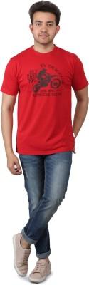 ROCK TIGER Printed Men's Round Neck Red T-Shirt