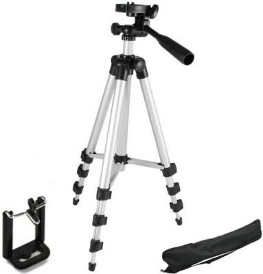 upalabdh 105 Cm ( 3.5 FEET ) For Small SLR Camera Tripod Mobile Phone Tripod Selfie Tripod Support upto - 500 gram Camera Tripod Kit(Silver, Supports Up to 500 g) 1