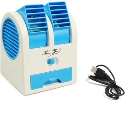 Cierie Mini Small Fan Cooling Portable Desktop Dual Minicooler Blue 1 USB Fan Blue Cierie Mobile Accessories