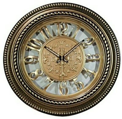 Anant Gift Gallery Analog 38 cm Dia Wall Clock(GOLDEN, BROWN, With Glass)