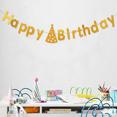 AMFIN Happy Birthday Banner With Cap Shape Banner For Birthday Party/ birthday party decoration Banner(3 ft, Pack of 1)
