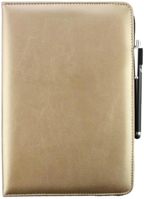 Emartbuy Wallet Case Cover for Asus ZenPad 10 M1000CNL(Metallic Gold Plain, Cases with Holder, Artificial Leather)