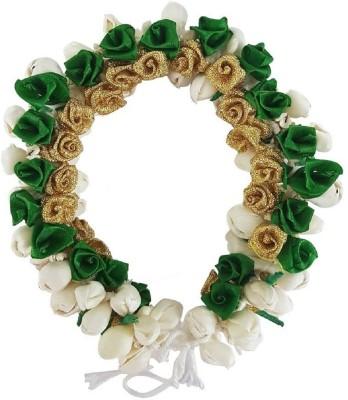 BOXO Artificial Hair Flower Gajra (Veni) Hair Accessories For Women Wedding Green Pack Of 1 (10310) Bun(Green)