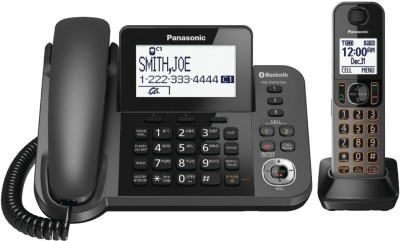 Point Panasonic KX-TGF380M DECT 6.0 1.9GHz Link2Cell(R) 1-Line Corded/Cordless with TAD (1 Cordless Handset) Corded Landline Phone with Answering Machine(Black)