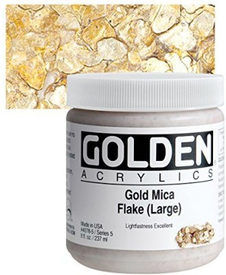Golden Heavy Body Acrylic Paints 236ML Gold Mica Flakes (Large)(Set of 1, Gold Mica Flakes)