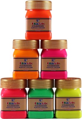 Flash Acrylic Fluorescent Colours ( 50 ML ) Day Glow(Set of 6, Multicolor)