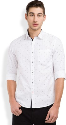 Highlander Men's Printed Casual White, Dark Blue Shirt