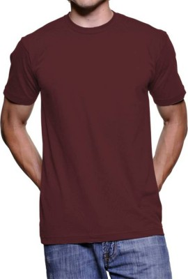 vency creation Solid Men Round Neck Maroon T-Shirt