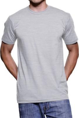 vency creation Solid Men Round Neck Grey T-Shirt