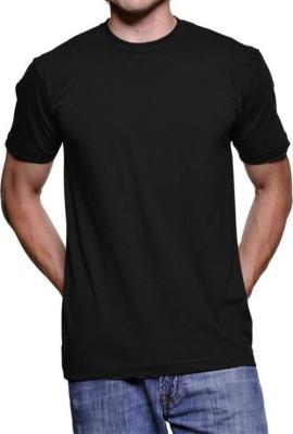 vency creation Solid Men Round Neck Black T-Shirt