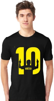 Tap in Typography Men Round Neck Black, Yellow T-Shirt