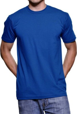 vency creation Solid Men Round Neck Blue T-Shirt