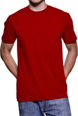 vency creation Solid Men Round Neck Red T-Shirt
