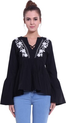 Fascination Casual Bell Sleeve Embroidered, Solid Women
