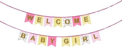 PARTY PROPZ Welcome Baby Girl String Banner Banner(15 ft, Pack of 1)