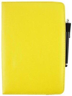 Emartbuy Wallet Case Cover for Binatone Homesurf 844(Yellow Plain, Cases with Holder, Artificial Leather)