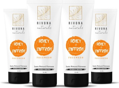 RIVONA NATURALS Honey and Saffron Fairness Face Wash for Men and Women - 220 ML (Combo Pack of 4) Natural Skin Whitening and Brightening, Gently Cleanse & Ultra White Glow | For Oily and Dry Skin | SL at flipkart