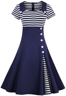 SKDC Girls Midi/Knee Length Casual Dress(Multicolor, Sleeveless)