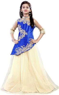 Fashion Duds Baby Girl's Lehenga Choli Ethnic Wear Embroidered Lehenga Choli(Blue, Pack of 1)
