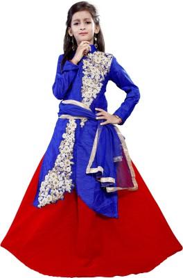 DREAMNOTE Baby Girl's Lehenga Choli Ethnic Wear Embroidered Lehenga, Choli and Dupatta Set(Light Blue, Pack of 1)