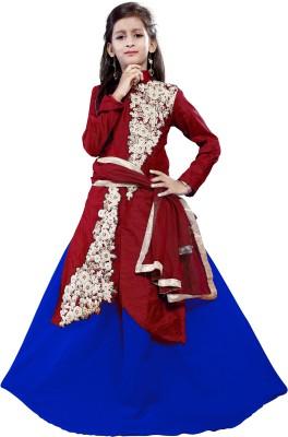 Fashion Duds Baby Girl's Lehenga Choli Ethnic Wear Embroidered Lehenga, Choli and Dupatta Set(Maroon, Pack of 1)