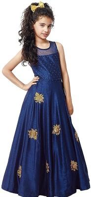 DREAMNOTE Baby Girl's Lehenga Choli Ethnic Wear Embroidered Lehenga Choli(Dark Blue, Pack of 1)