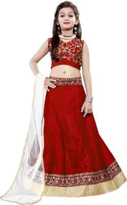 DREAMNOTE Baby Girl's Lehenga Choli Ethnic Wear Embroidered Lehenga, Choli and Dupatta Set(Red, Pack of 1)